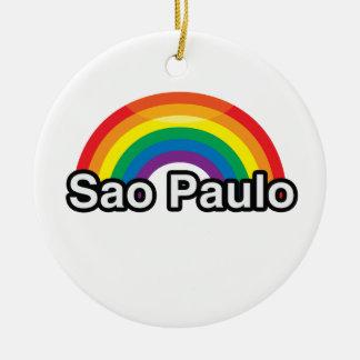 SAO PAULO PRIDE RAINBOW -.png Christmas Tree Ornaments