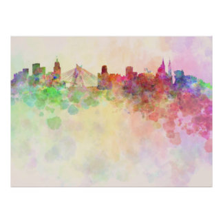 Sao Paulo skyline in watercolor background Poster