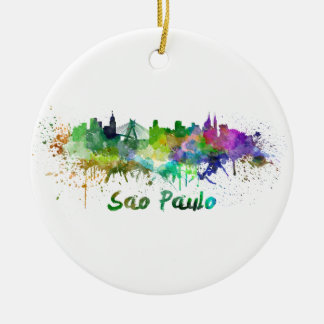 Sao Paulo skyline in watercolor Ceramic Ornament
