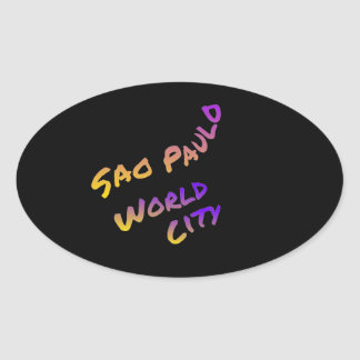 Sao Paulo world city, colorful text art Oval Sticker