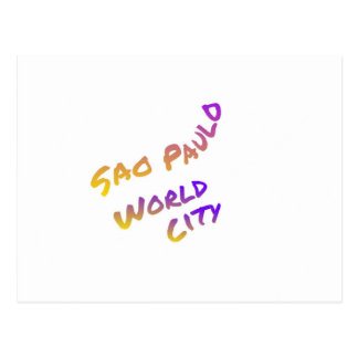 Sao Paulo world country,  colorful text art Postcard