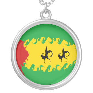 Sao Tome and Principe Gnarly Flag Round Pendant Necklace
