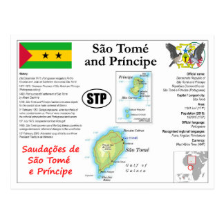 São Tomé and Príncipe Map Postcard