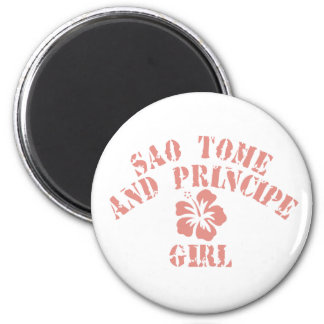 Sao Tome and Principe Pink Girl 2 Inch Round Magnet