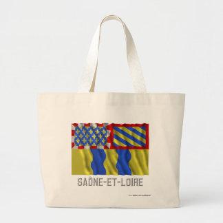 Saône-et-Loire waving flag with name Tote Bag