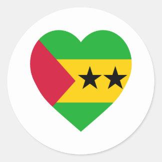SaoTome & Principe Flag Heart Classic Round Sticker