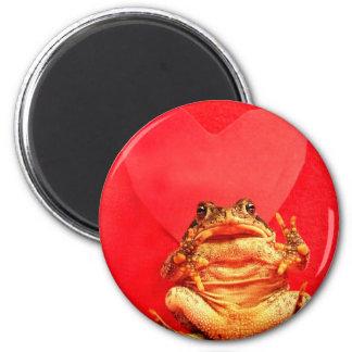 Sapo de la rana delante de la foto roja del corazó imán redondo 5 cm