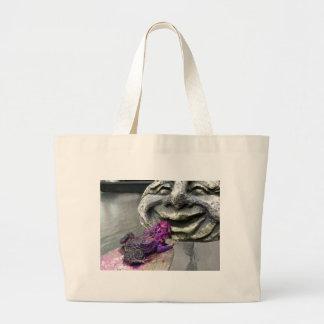 Sapo que se besa púrpura bolsa tela grande