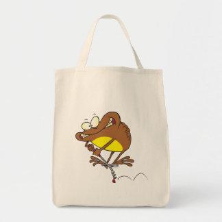 sapo tonto en dibujo animado del palillo de pogo bolsas lienzo