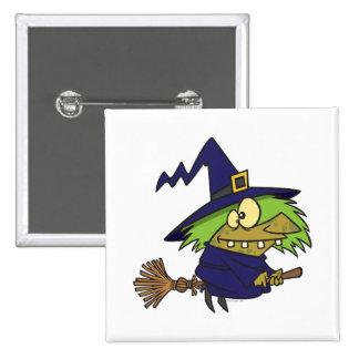 sapo witchy tonto de la bruja en el palo de escoba pin cuadrada 5 cm