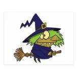sapo witchy tonto de la bruja en el palo de escoba postales