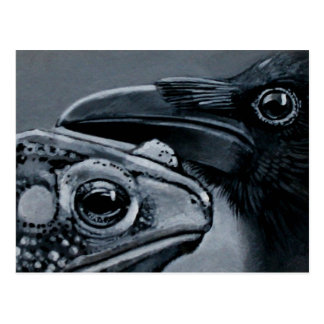 Sapo y cuervo postal