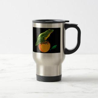 Sapo y naranja verdes taza térmica