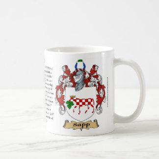Sapp, el origen, el significado y el escudo taza de café