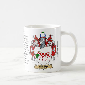 Sapp, the Origin, the Meaning and the Crest Coffee Mug