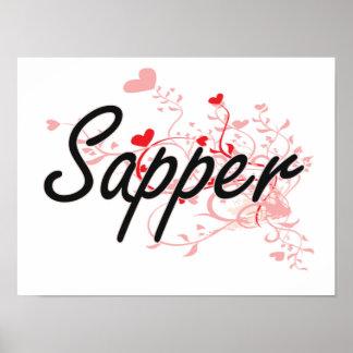 Sapper Artistic Job Design with Hearts Poster