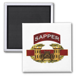 Sapper Tab w/ Combat Engineer Badge 2 Inch Square Magnet
