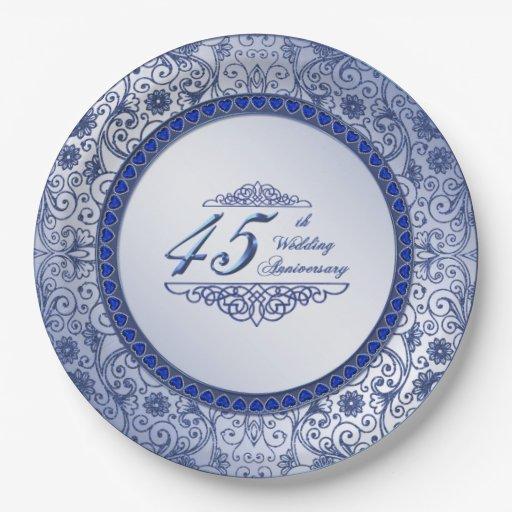 Sapphire 45th Wedding Anniversary Paper Plate Zazzle