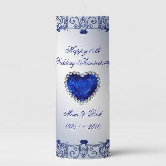 Sapphire 45th Wedding Anniversary Pillar Candle