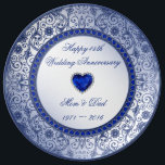 "Sapphire 45th Wedding Anniversary Porcelain Plate<br><div class=""desc"">A Digitalbcon Images Design featuring a sapphire blue color and flourish design theme with a variety of custom images, shapes, patterns, styles and fonts in this one-of-a-kind &quot;Sapphire Wedding Anniversary&quot; Porcelain Plate. This elegant and attractive design comes complete with customizable text lettering to suit your own special occasion. COMPLETE YOUR...</div>"