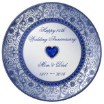 Sapphire 45th Wedding Anniversary Porcelain Plate<br><div class='desc'>A Digitalbcon Images Design featuring a sapphire blue color and flourish design theme with a variety of custom images, shapes, patterns, styles and fonts in this one-of-a-kind &quot;Sapphire Wedding Anniversary&quot; Porcelain Plate. This elegant and attractive design comes complete with customizable text lettering to suit your own special occasion. COMPLETE YOUR...</div>