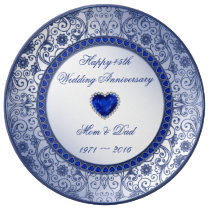 Sapphire 45th Wedding Anniversary Porcelain Plate