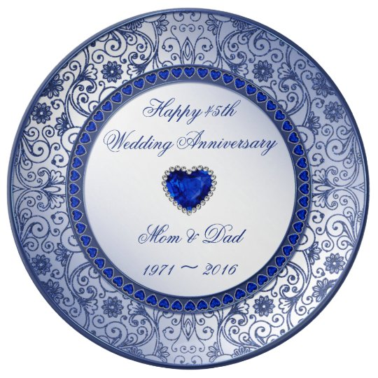 Sapphire 45th Wedding Anniversary Porcelain Plate Zazzle Com