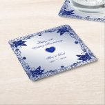 "Sapphire 45th Wedding Anniversary Square Coaster<br><div class=""desc"">A Digitalbcon Images Design featuring a sapphire blue color and flourish design theme with a variety of custom images, shapes, patterns, styles and fonts in this one-of-a-kind &quot;Sapphire 45th Wedding Anniversary&quot; Square Coaster. This attractive and elegant design comes complete with customizable text lettering and anniversary element to suit your own...</div>"