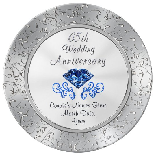 65 Wedding Anniversary Gift: Sapphire 65th Wedding Anniversary Gift Personalize Dinner