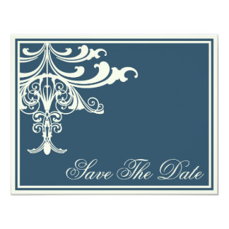 Sapphire and Creme Chandelier Save The Date Card