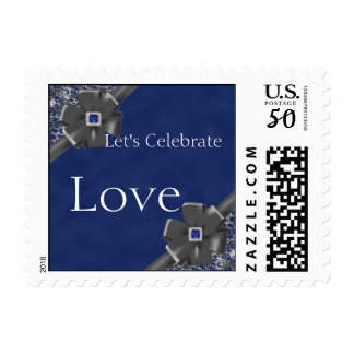 Sapphire and Silver 45th Wedding Anniversary Stamp