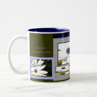 Sapphire and White Petals Collage Mug