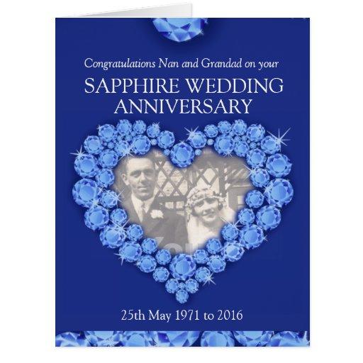 Sapphire anniversary grand parents photo card