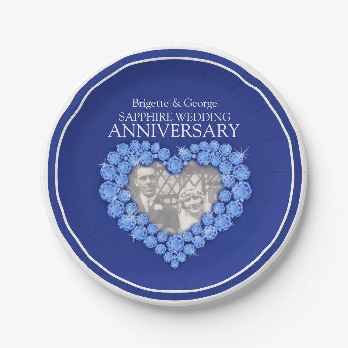 Sapphire Anniversary Photo Heart Paper Plate Zazzle