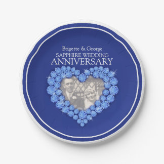 Sapphire Anniversary photo heart paper plate 7 Inch Paper Plate