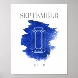 Sapphire Birthstone September Poster