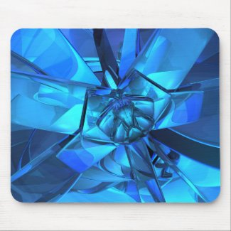 Sapphire Blue Abstract Mouse Pad