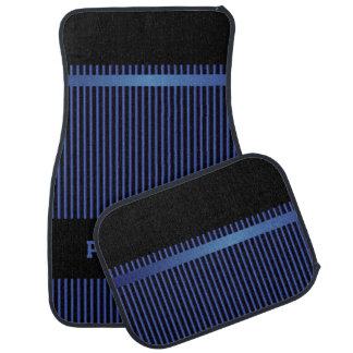 Sapphire Blue and Black Stripes | Personalize Floor Mat
