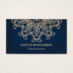 Sapphire Blue And Gold Ornate Sunburst Mandala Business Card at Zazzle