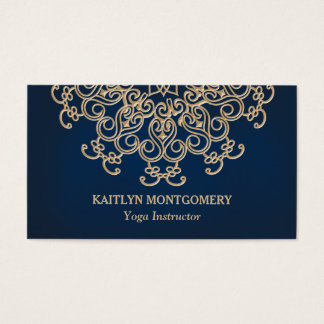 Sapphire Blue and Gold Ornate Sunburst Mandala Business Card