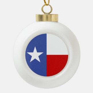 Sapphire Blue and Red Texas Flag Ceramic Ball Christmas Ornament