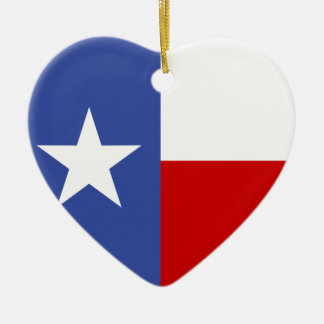 Sapphire Blue and Red Texas Flag Ceramic Ornament