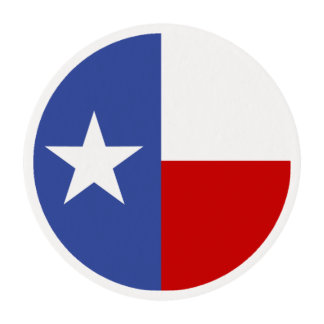 Sapphire Blue and Red Texas Flag Edible Frosting Rounds