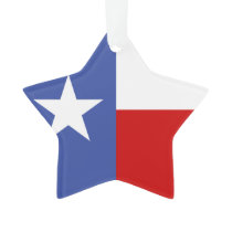 Sapphire Blue and Red Texas Flag Ornament