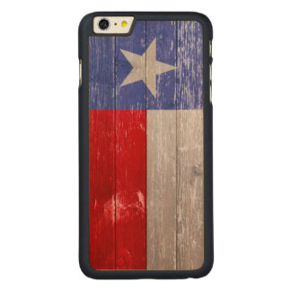 Sapphire Blue and Red Texas Flag Painted Old Wood Carved® Maple iPhone 6 Plus Slim Case