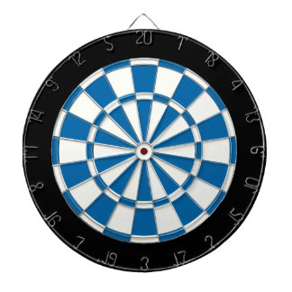 Sapphire Blue Black And White Dartboard With Darts