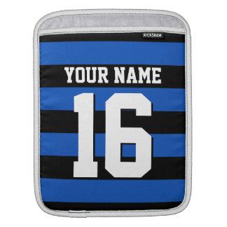 Sapphire Blue Black Sports Jersey Preppy Stripe Sleeve For iPads