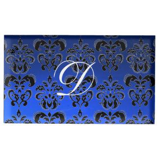 SAPPHIRE BLUE BLACK WHITE CLASSY DAMASK MONOGRAM TABLE CARD HOLDER