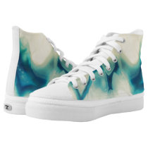 Sapphire Blue Cream Agate Geode Crystal Pattern High-Top Sneakers