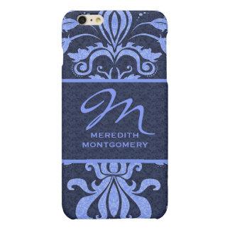 Sapphire Blue Damask Swirls | Monogrammed Case Matte iPhone 6 Plus Case